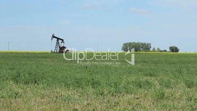 Oil Pump Working Hard In The Prairies