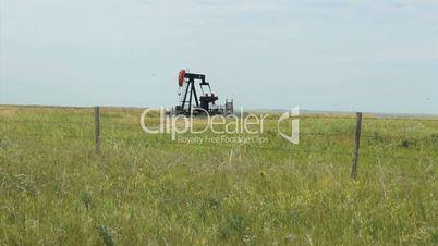 Oil Pump Pumping Oil On Farm