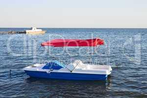 Walking catamaran on the water