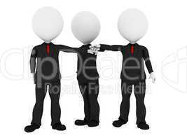 3d rendered business people in uniform putting hands together al
