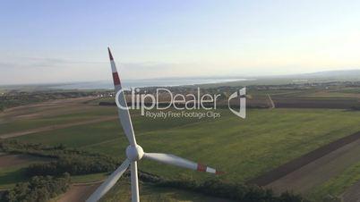 aerial view of wind turbine closeup