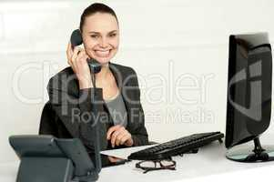 Cheerful secretary advising her client