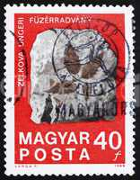 Postage stamp Hungary 1969 Fossilized Zelkova Leaves