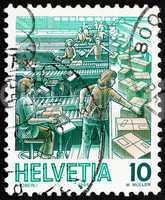 Postage stamp Switzerland 1986 Parcel Sorting, Mail Handling