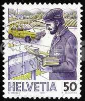 Postage stamp Switzerland 1987 Postman, Mail Handling