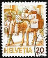 Postage stamp Switzerland 1987 Mule Post, Mail Handling
