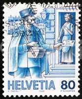 Postage stamp Switzerland 1986 Postman, Mail Handling