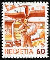 Postage stamp Switzerland 1987 Loading Airmail, Mail Handling