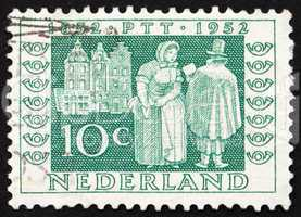 Postage stamp Netherlands 1952 Mail Delivery 1852