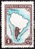 Postage stamp Argentina 1936 Map of South America