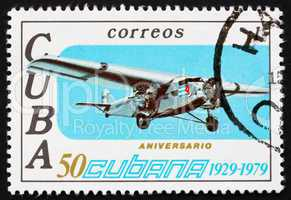 Postage stamp Cuba 1979 Ford Trimotor, Airplane