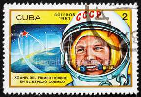 Postage stamp Cuba 1981 Yuri Gagarin, 1st Man in Space