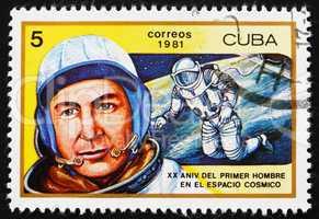 Postage stamp Cuba 1981 Aleksei A. Leonov, 1st Man to Walk in Sp