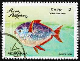 Postage stamp Cuba 1981 Moonfish