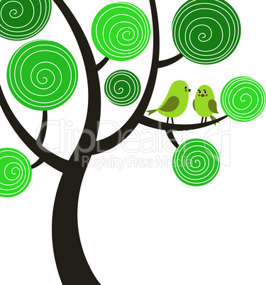 Decorative composition with two birds on the tree