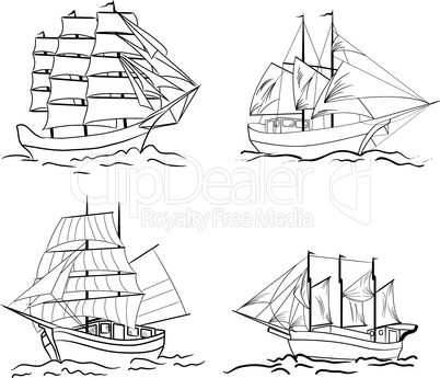 Set of sketch sailing vessel