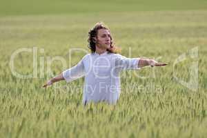 Yogi practing the so called virabhadrasana posture