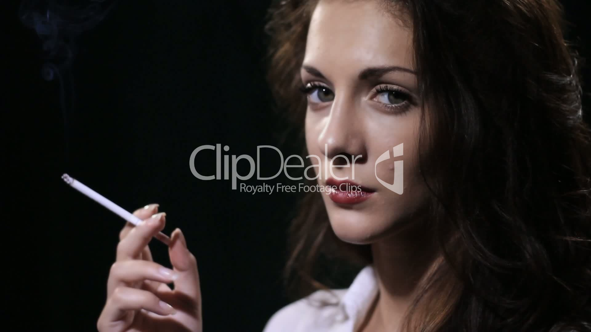 woman smokes cigarette: Royalty-free video and stock footage