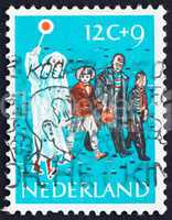 Postage stamp Netherlands 1959 Children Crossing Street