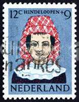 Postage stamp Netherlands 1960 Girl in Regional Costume, Hindelo