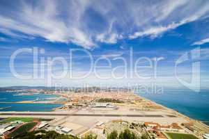 Gibraltar Airport Runway and La Linea Town