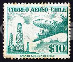 Postage stamp Chile 1967 Oil Derricks and Douglas DC-6