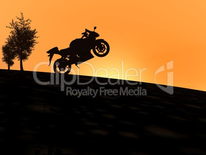 Motorbike shadow by sunset