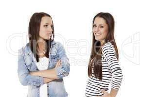 verärgerter und glücklicher teenager