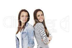 glücklicher und verärgerter teenager