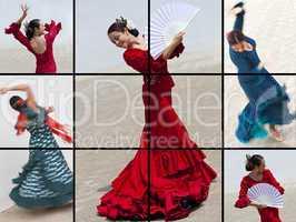 Montage of Woman Spanish Flamenco Dancer