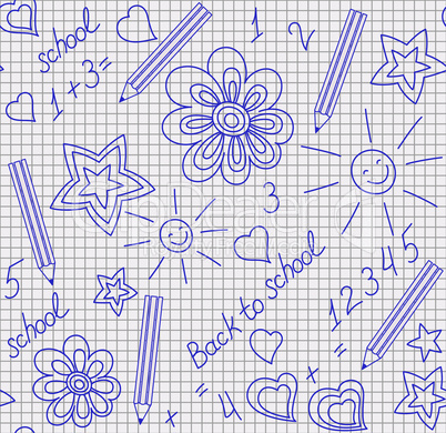 Back to school hand-drawn seamless pattern