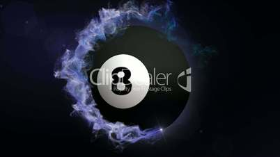 Number 8 Billiard Ball in Particle, with Alpha Channel - HD1080
