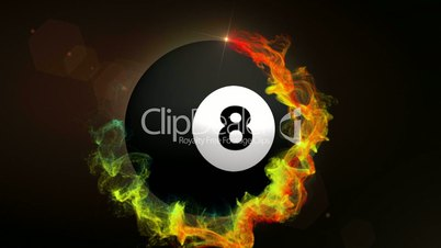 Number 8 Billiard Ball in Particle Red, with Alpha Channel - HD1080