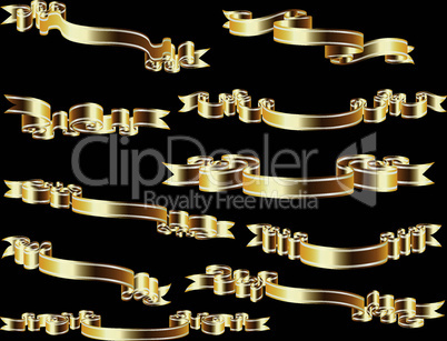 Set of golden ribbon