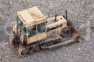 Bulldozer at building construction site