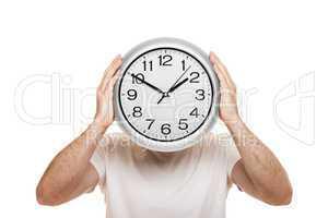 Man hand holding clock isolated