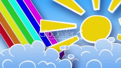 sun rainbow and clouds in sky loop animation luma matte