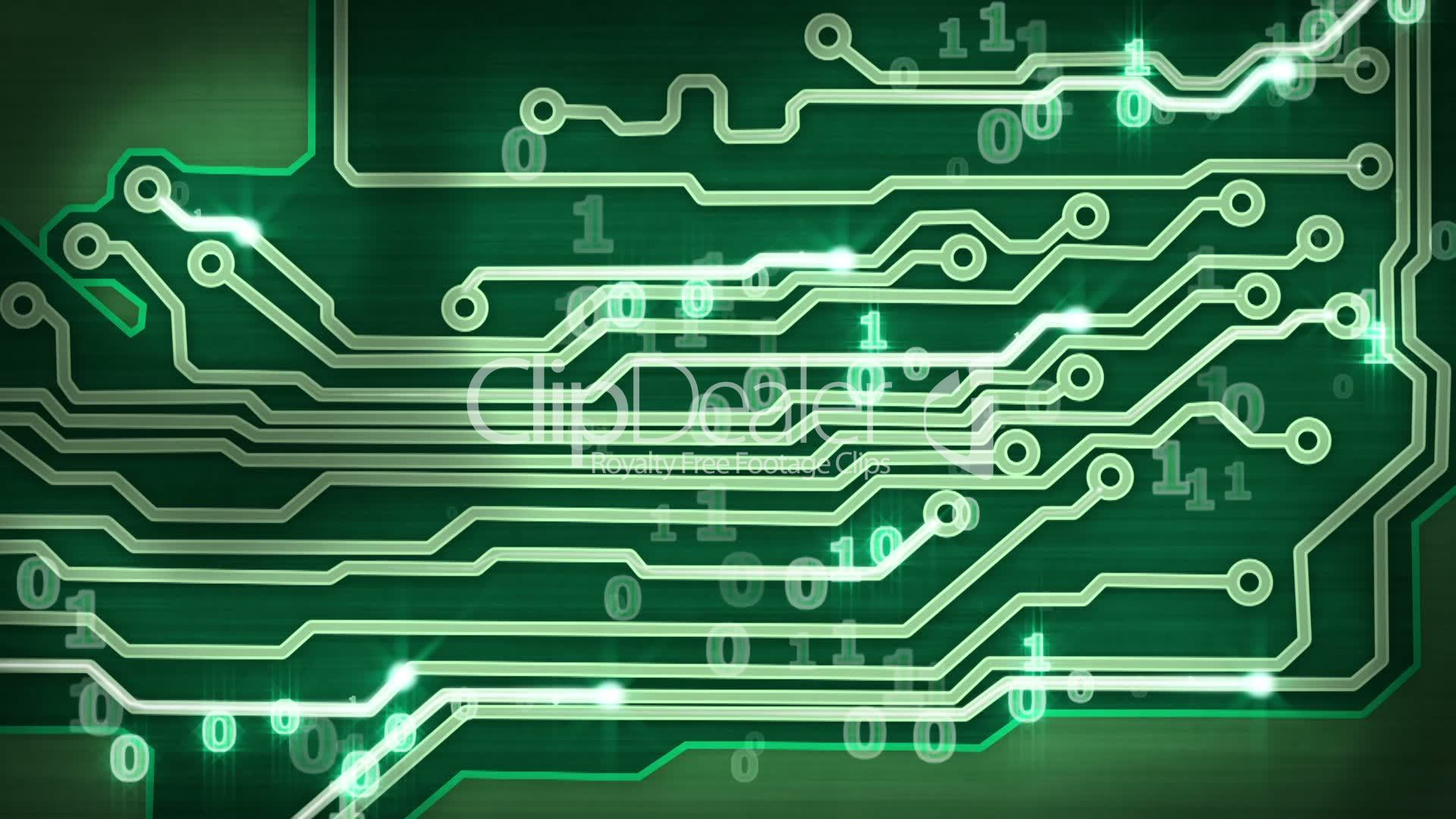 Green Circuit Board Providing Signals Loop Hi Tech Background Graphic Industrial Black Industry