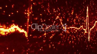 digital pixel EKG electrocardiogram pulse orange loopable background