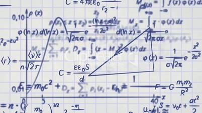 math physics formulas on squared paper loop