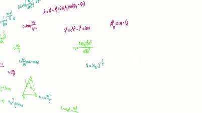 multicolor math physics formulas on white panning loop