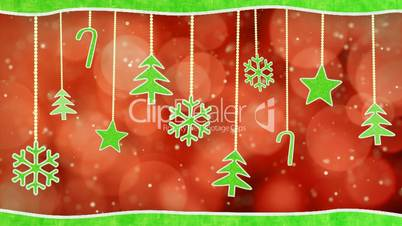 christmas hanging decorations loopable red green background