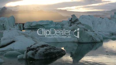 The Glacier Lagoon at the roots of Vatnajokull in Iceland, Jokulsarlon.