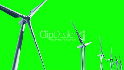 Wind Turbines (Loop on Green Screen)