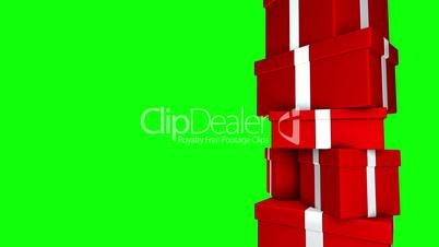 Pile of Gifts Red (Loop on Green Screen)