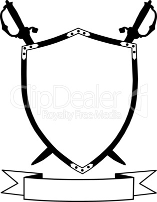 Isolated 16th Century War Shield with Crossed Swords