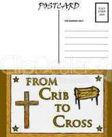 Empty Blank Postcard Template Crib and Cross Image