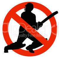 Cricket Player Silhouette on Traffic Prohibition Sign