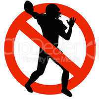 Football Player Silhouette on Traffic Prohibition Sign