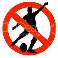 Rugby Player Silhouette on Traffic Prohibition Sign